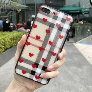 チェック柄 レッドハート iphoenケース(iphone7P/8P)(iPhoneケース)