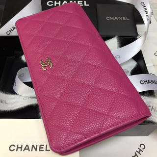 シャネル(CHANEL)の美品✨CHANEL長財布✨マトラッセ✨キャビア✨シルバーCC✨フューシャピンク♡(財布)