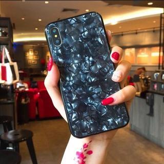 背面ガラス シェル クリスタル 光沢 iPhone7/8 ブラック(iPhoneケース)
