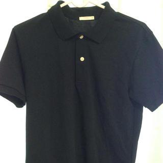 ジーユー(GU)の黒 無地ポロシャツ(シャツ/ブラウス(半袖/袖なし))