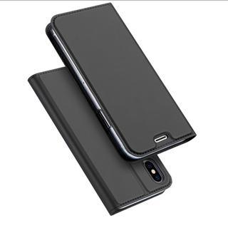ダークグレー iPhoneX シンプル 手帳型 ケース(iPhoneケース)