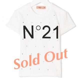 N°21 KIDS クリスタル付きロゴプリント半袖Tシャツ