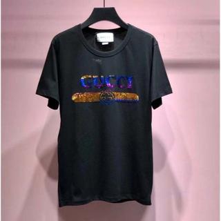グッチ(Gucci)のGUCCI スパンコールロゴ Tシャツ(Tシャツ(半袖/袖なし))