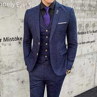 メンズスーツセットアップホスト定番ビジネス司会者スリム紳士服ブルー OT055