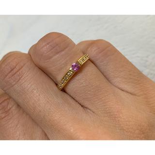 ジュエリーツツミ(JEWELRY TSUTSUMI)の★美品★18kイエローゴールド  ピンクサファイア×ダイヤモンドリング  7号(リング(指輪))