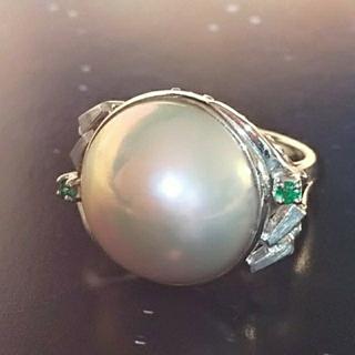 お値下げ マベパール 真珠 エメラルド k18 ホワイトゴールド リング(リング(指輪))
