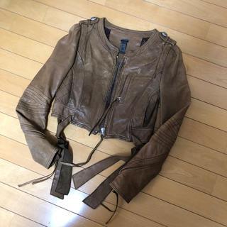 アウラアイラ(AULA AILA)のアウラアイラ 本革 ジャケット ブラウン サイズ0(レザージャケット)