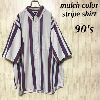 美品 90's マルチカラー ストライプシャツ ヴィンテージ 古着(シャツ)