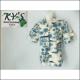 【KY'S】 美品 アロハシャツ ハワイ製 ブルー/花柄 コットン サイズM(シャツ)