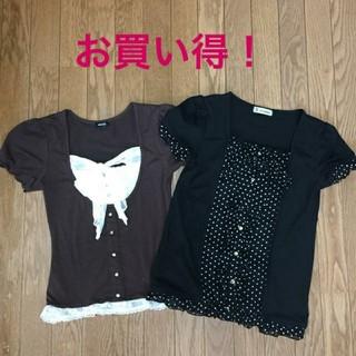 シマムラ(しまむら)の 胸元リボン トップス カットソー(カットソー(半袖/袖なし))