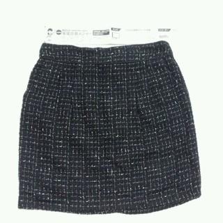 クレドソル(CLEF DE SOL)のクレドソルタイトスカート未使用黒ゴールド(ひざ丈スカート)