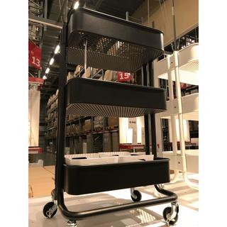 イケア(IKEA)のRASKOG ロースコグ ワゴン, ブラック(キッチン収納)
