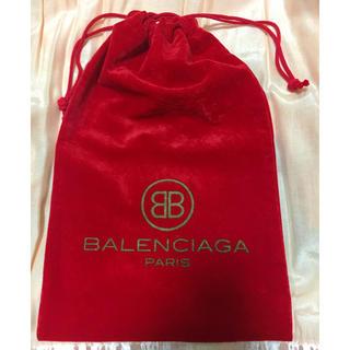 バレンシアガ(Balenciaga)のBALENCIAGA バレンシアガ ポーチ 巾着袋 ベロア調 バレンシアガ真紅(ポーチ)