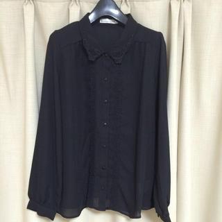新品 襟つき黒ブラウス(シャツ/ブラウス(長袖/七分))