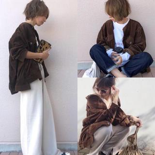 ニコアンド(niko and...)のniko  and... クルーハギハギリボン Gジャケット ブラウン(ノーカラージャケット)