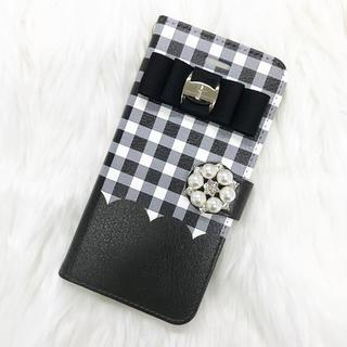 026837e9ae iPhoneケース スマホケース 手帳型 チェック柄 ブラック リボン 可愛い(iPhoneケース)