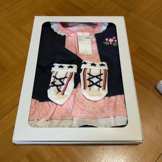 AEON - 乳児アウター 女の子 カバーオール 重ね着風 80 靴下もセットで