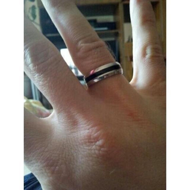 ブラックラインリング丸★ステンレス メンズのアクセサリー(リング(指輪))の商品写真