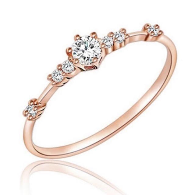 AAAランク ダイヤモンドcz ピンクゴールド リング 指輪 レディースのアクセサリー(リング(指輪))の商品写真