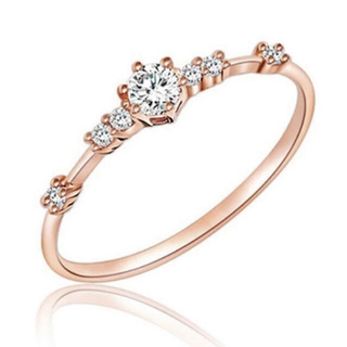 AAAランク ダイヤモンドcz ピンクゴールド リング 指輪(リング(指輪))