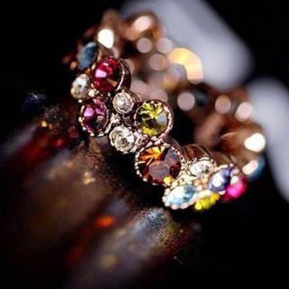 AAAランク ダイヤモンドcz マルチカラー 透かし彫り 11号 リング 指輪(リング(指輪))