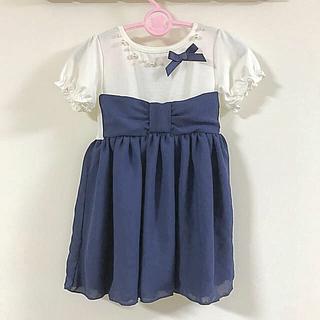 シマムラ(しまむら)の新品 110cm パールリボン 半袖(Tシャツ/カットソー)