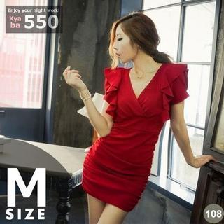 63a74043393f9 キャバドレス 108B レッド ボディコン ミニ ドレス フリル ワンピ M-L(ミニドレス)