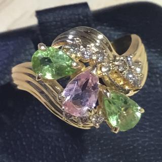 ピンクトルマリン ペリドット ダイヤ ゴールドリング 指輪 約11号 簡易鑑別付(リング(指輪))