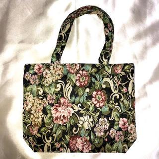 bd8ea1b78365 新品未使用 ゴブラン織りミニトートバッグ 黒/ブラック 花柄 レトロ フラワー(トートバッグ