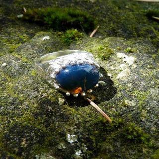 ドミニカ産天然琥珀 ブルーアンバー デザイナーシルバーリング 16号(リング(指輪))