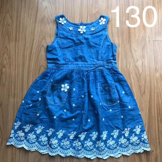 スーリー(Souris)のスーリー  裾フラワー刺繍デニムワンピース 130 Souris(ワンピース)