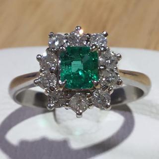 ✨エメラルド&ダイヤモンドリング  指輪 約14.5号 プラチナ900(リング(指輪))