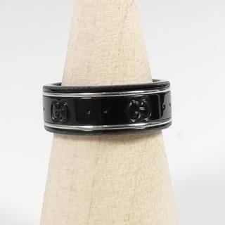 グッチ(Gucci)の美品 グッチ GGロゴ ホワイトゴールド ブラック リング TH72(リング(指輪))
