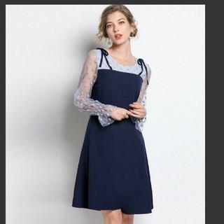 5L 新品 長袖シースルーワンピース 紺 大きいサイズ レディース 重ね着風 春(ひざ丈ワンピース)