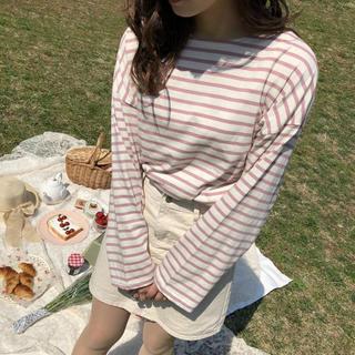 ロキエ(Lochie)のrili tokyo クルーネックボーダーロンT ピンク(Tシャツ(長袖/七分))