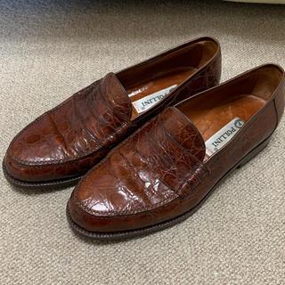 クロコダイル革 イタリア製 ポリーニ ローファー メンズ 美品(ローファー/革靴)