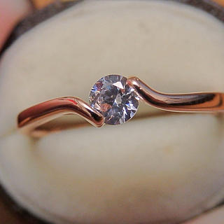 高品質*czダイヤモンドのシンプル一粒ピンクゴールドカラーリング指輪(リング(指輪))