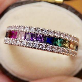 高品質*虹色レインボーのアミュレットシルバーリング指輪大きいサイズ(リング(指輪))
