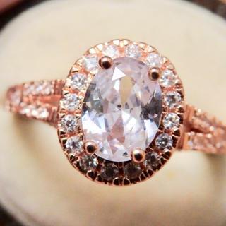 高品質*華奢クリアストーンアンティーク調ピンクゴールドリング指輪大きいサイズ(リング(指輪))