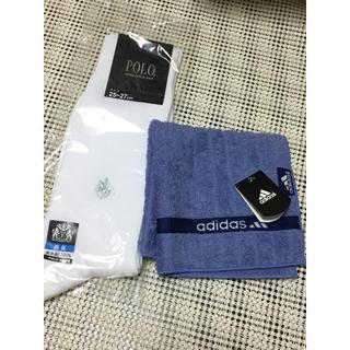 アディダス(adidas)の新品未使用 アディダス タオルハンカチ➕グンゼ POLO白ソックス25〜27㎝(ハンカチ/ポケットチーフ)