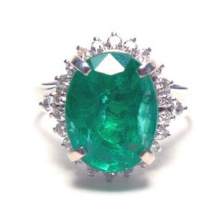 超大粒 送料無料 Pt900 エメラルド ダイヤモンド リング レディース(リング(指輪))