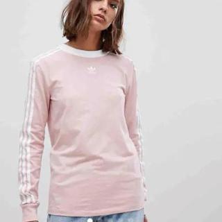 アディダス(adidas)のadidas originalsアディダスオリジナルス ピンクロングTシャツM(Tシャツ(長袖/七分))