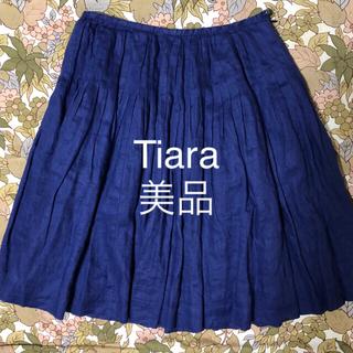 ティアラ(tiara)のTiaraギャザースカート麻100%(ひざ丈スカート)