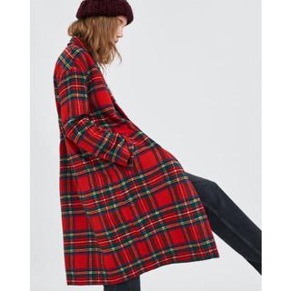 1c18663d1258b ザラ(ZARA)の完売品 ザラ チェック柄 コート ジャケット ダブルブレスト 赤 ガウン