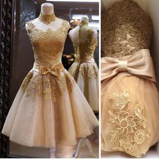 新品送料込カラードレスゴールドドレス(ミディアムドレス)