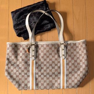 b6c9dd24f2a9 グッチ(Gucci)の正規品 グッチ GG柄 キャンバス× レザー トートバッグ ハンドバッグ