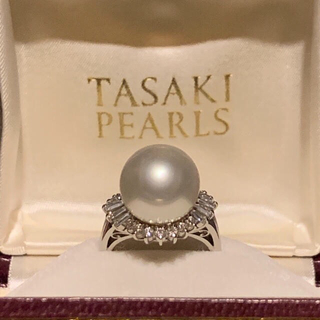 タサキ(TASAKI)のTASAKI 大粒13mmパール+ダイヤ プラチナリング 美品 保証書付(リング(指輪))