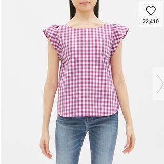 ジーユー(GU)のギンガムチェック フリル ノースリーブ シャツ ブラウス ピンク GU(シャツ/ブラウス(半袖/袖なし))