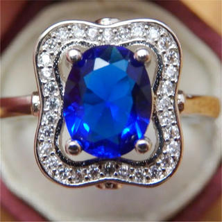 高品質●ブルーの高見えデザインアンティーク調リング指輪大きいサイズ(リング(指輪))
