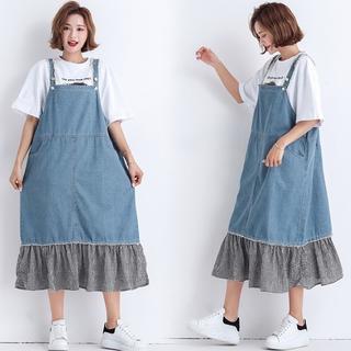 大きいサイズ 裾フリルジャンパースカート(ひざ丈ワンピース)